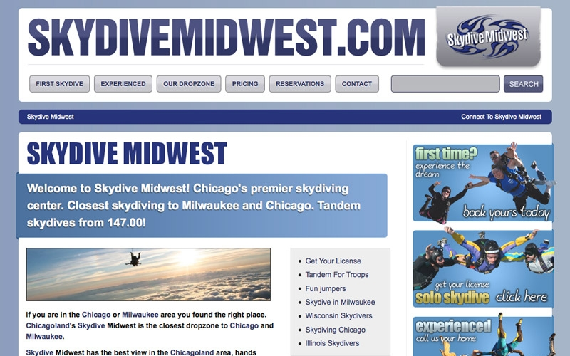 Skydive Midwest landing page