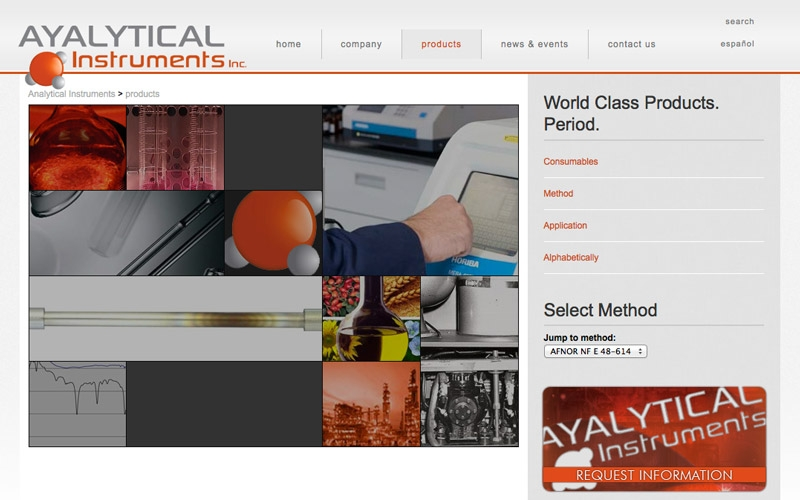 Ayalytical products landing page.